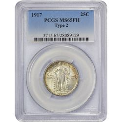 Gem Uncirculated 1917 Quarter Type II, FH 1917 Quarter Type II. MS-65 FH PCGS.