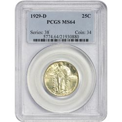 Choice Mint State 1929-D 25¢ 1929-D Quarter MS-64 PCGS.