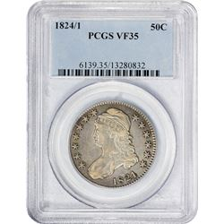 Choice VF 1824/1 Half Dollar 1824/1 Half Dollar O-101. Rarity-2. VF-35 PCGS.