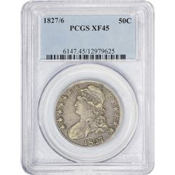 EF 1827/6 Half Dollar 1827/6 Half Dollar O-102. Rarity-1. EF-45 PCGS.