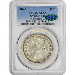 Choice AU 1827 Half Dollar 1827 Half Dollar Curl Base 2. O-146. Rarity-2. AU-58 PCGS. CAC.