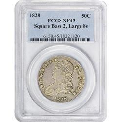 Choice EF 1828 Half Dollar 1828 Half Dollar O-108. Square Base, Knob 2. Large 8s. Rarity-3. EF-45 PC