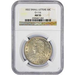 Choice AU 1832 Half Dollar 1832 Half Dollar Small Letters. O-116. Rarity-3. AU-55 NGC.