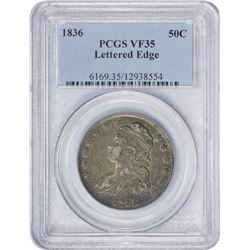 VF 1836 Lettered Edge 50¢ 1836 Half Dollar Lettered Edge. O-107. Rarity-3. VF-35 PCGS.