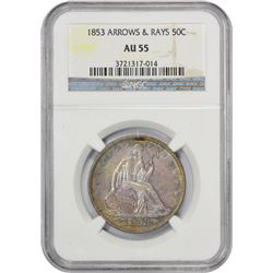 AU 1853 Arrows and Rays Half Dollar 1853 Half Dollar Arrows and Rays. AU-55 NGC.