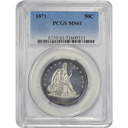 Uncirculated 1871 Half Dollar 1871 Half Dollar MS-61 PCGS.