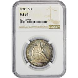 Colorful Choice Mint State 1885 Half Dollar 1885 Half Dollar MS-64 NGC.