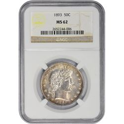 Nicely Toned Uncirculated 1893 Half Dollar 1893 Half Dollar MS-62 NGC.
