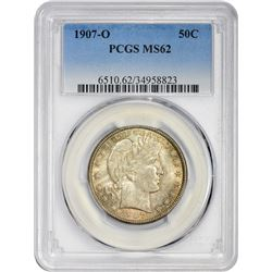 Lustrous Mint State 1907-O Barber 50¢ 1907-O Half Dollar MS-62 PCGS.