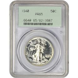 Gem Proof 1940 Walking Liberty 50¢ 1940 Half Dollar Proof-65 PCGS. OGH.