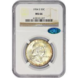 Gem 1954-S Franklin Half Dollar 1954-S Half Dollar MS-66 NGC. CAC.