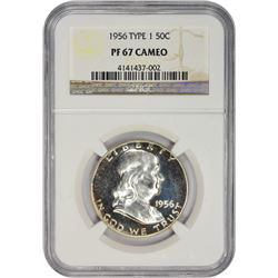 Gem Cameo Proof 1956 Franklin Half Dollar Type I Reverse 1956 Half Dollar Type I. Proof-67 CAMEO NGC