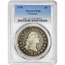 VF 1795 Flowing Hair $1 1795 Flowing Hair Dollar. B-2, BB-20. Two Leaves. Rarity-3. VF-20 PCGS.