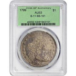 Toned AU 1799 Bust Dollar 1799 Dollar B-11, BB-161. Rarity-2. AU-53 PCGS.
