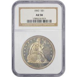 Choice AU 1842 Silver Dollar 1842 Dollar AU-58 NGC.
