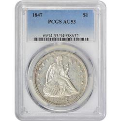 AU 1847 $1 1847 Dollar AU-53 PCGS.