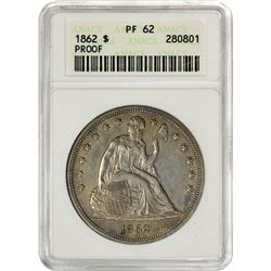 Proof 1862 Liberty Seated $1 1862 Dollar Proof-62 ANACS.