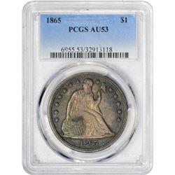 Toned AU 1865 Silver Dollar 1865 Dollar AU-53 PCGS.