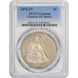 AU Details 1870-CC Silver $1 1870-CC Dollar Genuine – Cleaned – AU Detail PCGS.