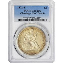 Low-Mintage 1872-S Silver $1 1872-S Dollar Unc Details – Cleaning – PCGS.