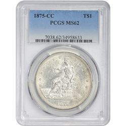 Lustrous Uncirculated 1875-CC Trade $1 1875-CC Dollar MS-62 PCGS.