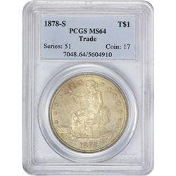 Choice Mint State 1878-S Trade $1 1878-S Trade $1. MS-64 PCGS.
