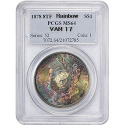 Rainbow 1878 8 Tail Feathers Morgan $1 1878 Dollar 8 Tail Feathers. VAM-17. MS-64 PCGS.