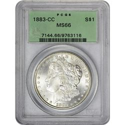Gem Mint State 1883-CC Morgan $1 1883-CC Dollar MS-66 PCGS. OGH.