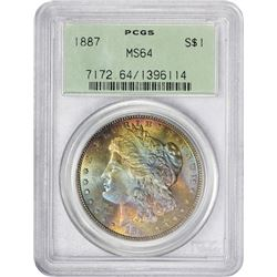 Rainbow-Toned 1887 Morgan $1 1887 Dollar MS-64 PCGS. OGH.