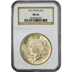 Choice Mint State 1921 Peace Dollar Sharply Struck 1921 Dollar MS-64 NGC.