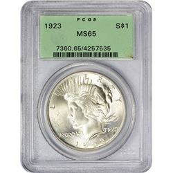 Gem 1923 Peace Dollar 1923 Dollar MS-65 PCGS. OGH.