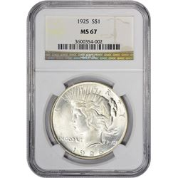 Superb Gem Uncirculated 1925 Peace $1 1925 Dollar MS-67 NGC.