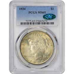Gem Mint State 1934 Dollar 1934 Dollar MS-65 PCGS. CAC.