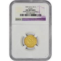 AU Details 1839-C $2.50 Repunched 39 1839 $2.50