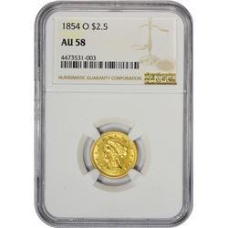 Choice AU 1854-O Quarter Eagle 1854-O Quarter Eagle AU-58 NGC.