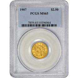 Gem Uncirculated 1907 $2.50 1907 Quarter MS-65 PCGS.