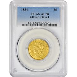 High Level AU 1834 Classic Head $5 1834 Half Eagle Classic Head. Plain 4. Breen-6501, McCloskey 1-A.