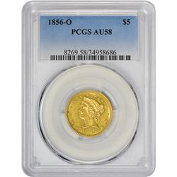 Choice AU 1856-O Half Eagle 1856-O Half Eagle Winter-1. AU-58 PCGS.