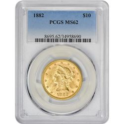 Frosty Mint State 1882 Eagle 1882 Eagle MS-62 PCGS.