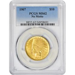 Satiny Uncirculated 1907 Indian $10 No Periods  1907 Eagle Indian. No Periods. MS-62 PCGS.