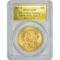 Choice AU 1857-S Double Eagle Ex S.S. Central America 1857-S Dies 20F, No Serif, Right S. SSCA #2939