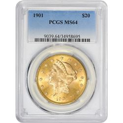 Choice Uncirculated 1901 $20 1901 Double Eagle MS-64 PCGS.