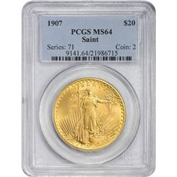 Frosty 1907 Saint-Gaudens $20 Arabic Numerals 1907 Double Eagle Arabic Numerals. MS-64 PCGS.