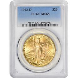 Gem Mint State 1923-D $20 1923-D Double Eagle MS-65 PCGS.