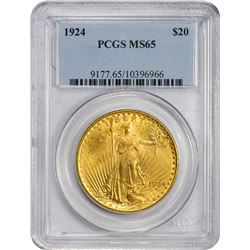 Frosty Gem 1924 $20 1924 Double Eagle MS-65 PCGS.