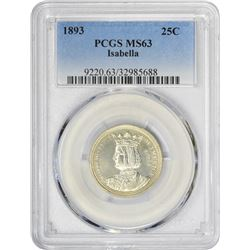 Brilliant 1893 Isabella Quarter Dollar 1893 Isabella Quarter. MS-63 PCGS.