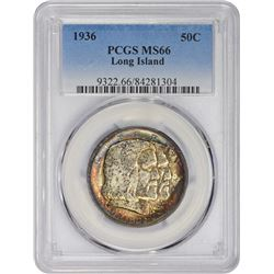 Toned Gem Mint State 1936 Long Island 50¢ 1936 Long Island Half Dollar. MS-66 PCGS.