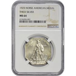 Choice Uncirculated 1925 Norse-American Medal Thick Planchet  1925 Medal Norse-American Centennial M