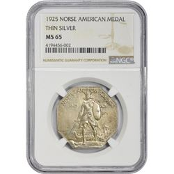 Gem Uncirculated 1925 Norse-American Medal Thin Planchet  1925 Medal Norse-American Centennial Medal