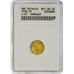 Important 1836 Gold Dollar Pattern 1836 Pattern Dollar. Judd-67, Pollock-70. Gold, .900 Fine. Rarity